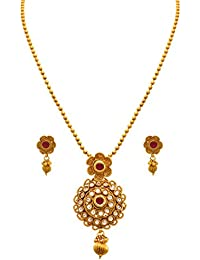 JFL - Traditional Ethnic One Gram Gold Plated Stone Diamond Designer Pendant Set With Earring For Women And Girls.
