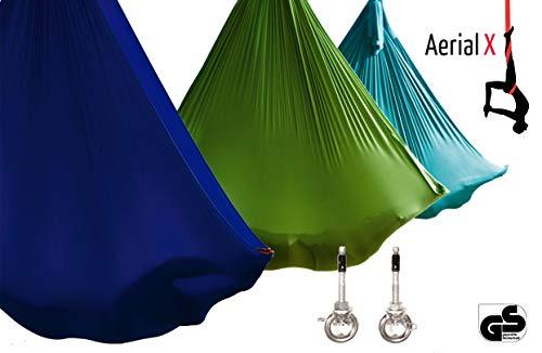 Aerial Yogatuch Set mit Deckenanker für Yoga Fitness Pilates Wellness - geprüfte Sicherheit aus Deutschland - Petrol
