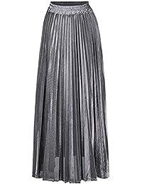 49a9d6ebf761 Femmes Jupe Plissé Rétro Jupe Longue Haute Taille Lustre Métallique Briller  Grand Pendule A-Line Été Plage Chic Style Classique Grande Taille…
