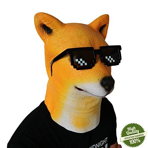 Morbuy Interessant Halloween Maske, Neuheit Erwachsene Latex Tier Masken Perfekt für Fasching Karneval Kostüm Weihnachten Halloween Cosplay Kostüme Für Männer und Frauen (Hund)