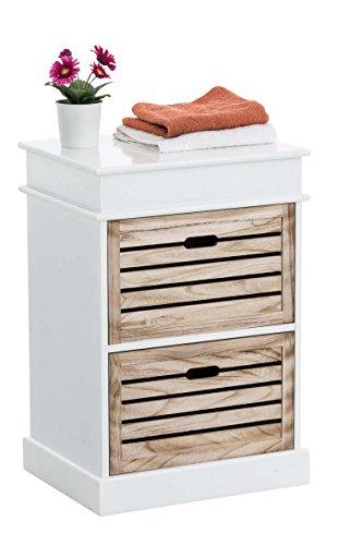 Clp comodino in legno di paulonia arja shabby chic | comodino bianco con 2 cassetti | comodino cassettiera | mobiletto bagno salvaspazio, 50x40 cm, alt.74 | cassetti stile natura bianco