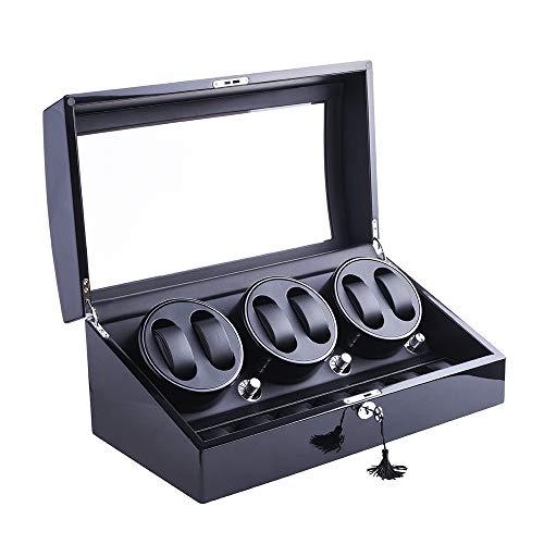 Xtelary, elegante carica orologi girevole, 6 + 7 alloggiamenti in pelle, (struttura in legno + cuscinetto in pelle + verniciatura effetto lucido + vetro temperato).