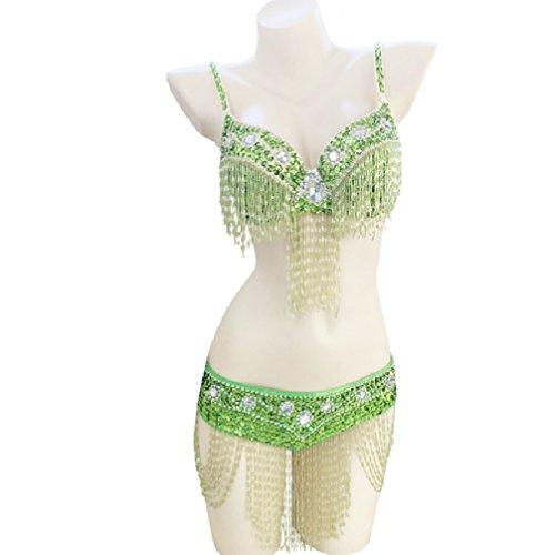 Rongg Damen Bauchtanz BH-Oberteil Mit Fransen Indischer Tanz Performance Kostüm Perlen 2 Stück, H, ()