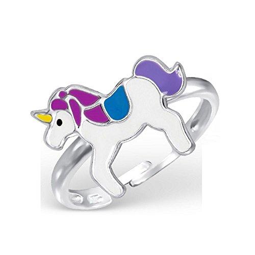 Bungsa Kinder-Ring Einhorn aus Sterling Silber 925 - Süßer Fingerring mit GEFLÜGELTEM Pferd für Kinder - 1 Silberner Ring größenverstellbar - Flexibel - Edler Kinderschmuck mit Pegasus -