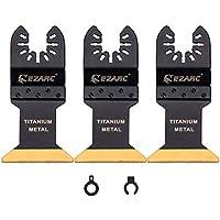 EZARC Cuchillas Multiherramienta Oscilante con Revestimiento de Titanio para cortar Metal, Madera y Material duro - 3 Piezas