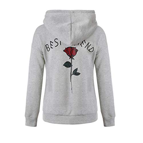 JURTEE Damen Hooded Sweatshirt Brief Gedruckte Süße Langarm Hoodie T-Shirt Lange Mädchen Lose Kapuzenpullover Tops Oberteile(M,grau) -