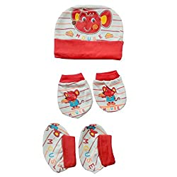 Baby Basics - Cap Mitten Booties Set - Red