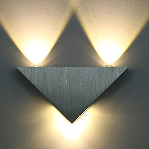 LED Wall Lights 3W Up Down Living Room Wall Sconce Bedroom Decor Light Fixture, Warm White