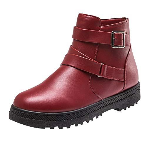 Preisvergleich Produktbild TianWlio Damen Stiefel Stiefeletten Frauen Mode Solides Warme Winter Flache Schnee Kurze Stiefel Reißverschluss Runde Zehe Schuhe