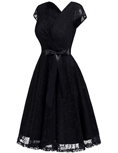 Dresstells Damen Spitzenkleid V-Ausschnitt kurz Brautjungfern Cocktailkleid Abendkleider Black