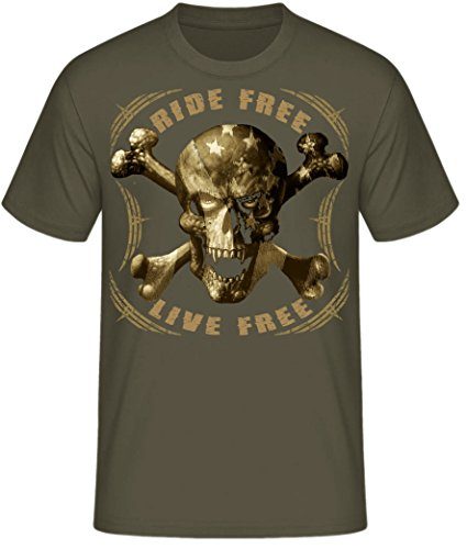 Biker Shirt T-Shirts Milwaukee Iron Chopper Bobber Route 66, Skull V2 Motorrad Ride Free Skull oliv (army)