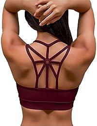 55f8d3dc86 YIANNA Donna Reggiseno Sportivo Senza Ferretto Reggiseni con Imbottito  Removibile Yoga Fitness Top