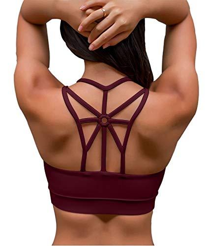 YIANNA Damen Sport BH Ohne Bügel Bequem Bustier mit Gepolstert Cup Atmungsaktiv Yoga Bra Top,UK-YA-BRA139-Red-M