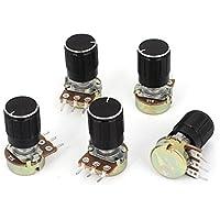 DealMux a15011600ux0213 5 peça 1K Ohm Linear Taper Rotary Potentiometer, 1KB B1K Pot