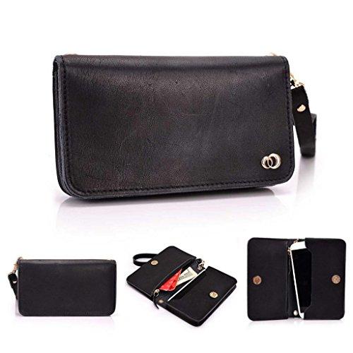 Kroo Pochette Cou en cuir fait avec dragonne pour Smartphone 12,7cm Housse de transport Compatible avec Nokia Lumia 630, Samsung Galaxy core plus/Express I437 peau noir