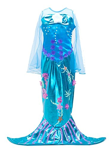 - Kinderkostüm Blau - Gr. 120 (Kleine Meerjungfrau Kostüm Zubehör)