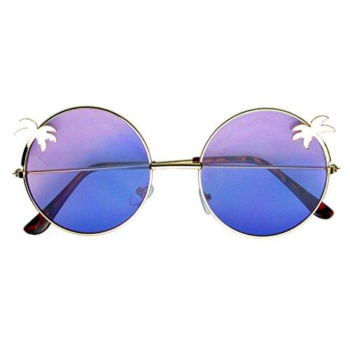 Emblem Eyewear - Indie Palm Tree Gradient Lens Redondo Hippie Gafas De Sol (Azul Morado)