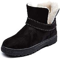 LIANGXIE Botas de Nieve de Moda para Mujer Botas de Invierno cálido Botas Cortas Planas de Gran tamaño para Mujeres Ms Zapatos de algodón Tubo Corto Botas de Mujer (Color : Negro, tamaño : 43)