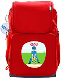 UniQBees Personalised School Bag With Name (Smart Kids Large School Backpack-Red-Cricket 3)