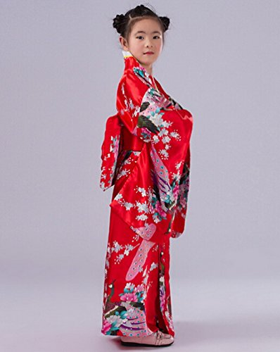 Smile YKK Kind Mädchen Geblümt Pfau Bilder Kimono Uniform Kleid Maxirock Party Kleid 140 Rot - 3