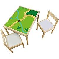 Preisvergleich für Möbelaufkleber Spielwiese - passend für IKEA LÄTT Kindertisch - Kinderzimmer Spieltisch - Möbel nicht inklusive