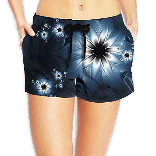 Hwgss Women's Elastic Lounge Shorts Colorful Flowers Beach Shorts(L) -