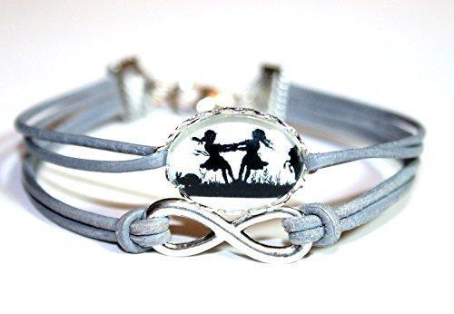 Infinity handmade Freundschafts Scherenschnitt Lederarmband grau/silber (individualisierbar) , 16-17cm, ein süßes handgefertigtes Geschenk für die beste Freundin oder liebste Schwester