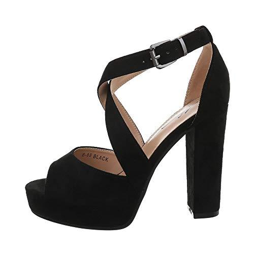 Ital-Design Damenschuhe Sandalen & Sandaletten High Heel Sandaletten Synthetik Schwarz Gr. 37 (Schwarze Sandalen Riemchen-kleid)