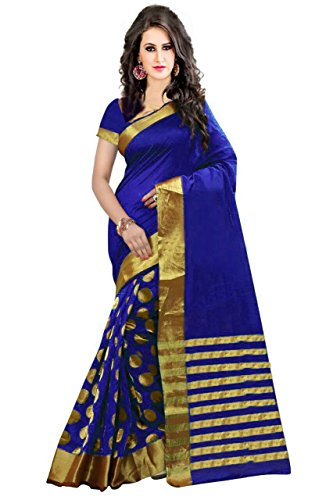 Perfectblue Women's with Blouse Piece Cotton Saree (Pbbluegoli_Blue_Free Size)