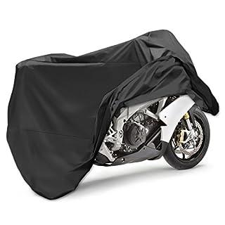 Motorradabdeckung Wasserdicht,ApoGo 190T Motorrad Garage Abdeckplane Schutzhülle Faltgarage Schutz Covermit Tasche 265*105*125cm