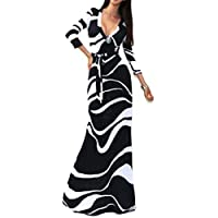 فستان طويل بقبة V، قياس Xl-اسود وابيض L51208-1