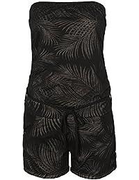Stitch & Soul Damen Jumpsuit mit Allover Palmen-Muster | Kurzer Bandeau Einteiler mit Flechtgürtel