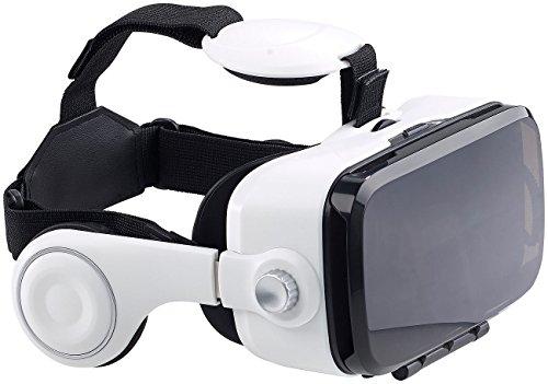 auvisio VR Brille: Virtual-Reality-Brille mit integrierten Kopfhörern, 3D-Justierung (Handybrille)