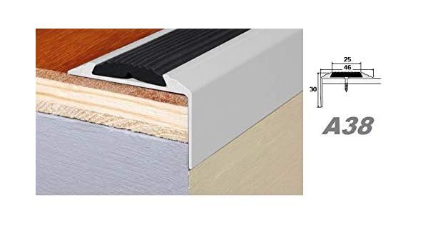 A38 Aluprofile Stufenleiste Kante Stufe Eckleiste mit Anti-Rutsch-Gummi 30x46mm L/änge:1.20 Meter Farbe:Silber