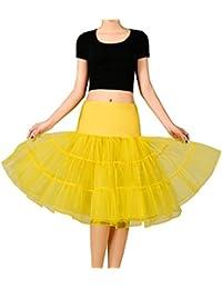 Noriviiq Damen Petticoat Unterrock 1950 s Tüll Tutu Rock Kurz Retro Rockabilly  Tanzkleid Underskirt Crinoline L Gelb f901fa3f7f