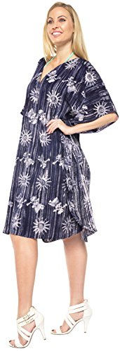 La Leela Frauen langen Strand Kaftan Strandmode Bikini-Vertuschung-Bluse Tunika Maxi-Kleid bis 4 Farben Kimono kurz zu wählen Blau