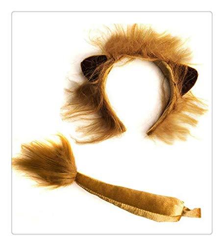 Z-one 1 niedliche Partyhüte, Löwenohren und Schwanz Set - Löwenkostüm - Ohren Kopfbedeckung - Tier-Stirnbänder mit Ohren Halloween Kinder Spielzeug