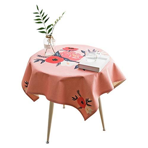 Nappe carrée pour table ronde en lin, coton, fille rose, coeur, housse de table à l'épreuve de la poussière, pour table à dîner, décoration de fêtes d'intérieur ou d'extérieur, utilisation quotidienne