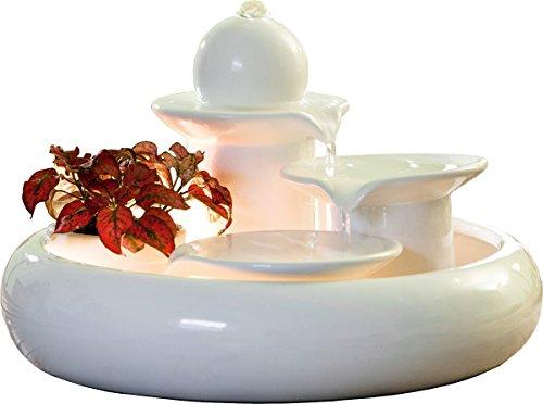 Seliger Keramik-brunnen Locarno Creme - weiß Katzen-brunnen