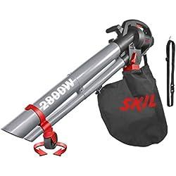 Skil 0792AA - Soplador, aspirador y triturador de hojas con rueda pivotante (2800 W, bandolera, bolsa de recogida, Easy Storage)