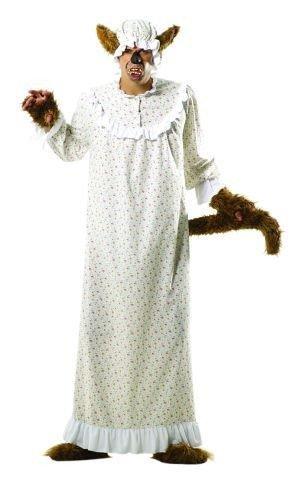 Foxxeo Böser Wolf Kostüm Oma Großmutter für Erwachsene Damen und Herren Tierkostüm Overall Jumpsuit Größe XL