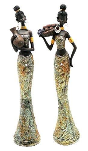 Figuren Frauen Afrikanische (2 Afrikanerinnen Frauen Figuren je 36 cm x 11 cm)