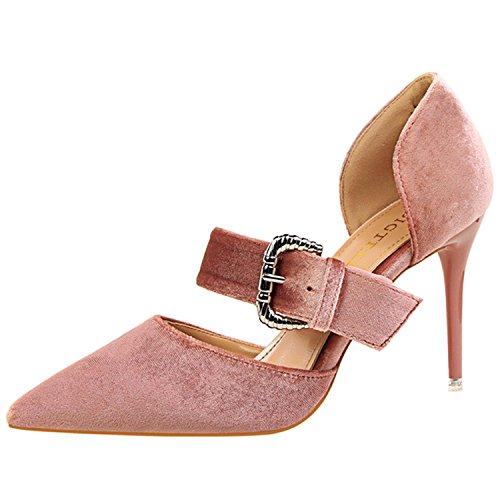 Oasap Women's Pointed Toe Buckle High Heels Suede Sandals Nude