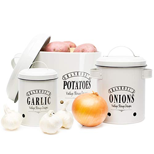 """'Productos granrosi son siempre un atractivo en su cocina los amplios esmalte de tarro cajas con el texto """"Onion."""", """"Garlic"""" y """"Carne en 40años diseño vintage de granrosi son super práctico y proporcionan el espacio tan importante. lo que a menudo s..."""