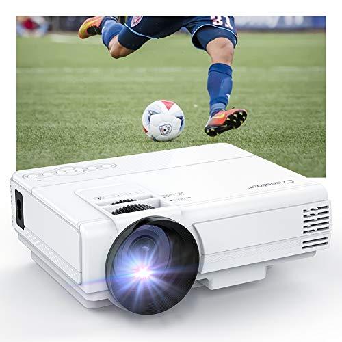 Crosstour Vidéoprojecteur Mini Projecteur Portable 1080P Prenant en Charge 55,000 Heures de Vie LED Compatible avec HDMI/USB/VGA/AV/Smartphone/TV Box/TV Stick
