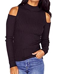 Bigood Sexy Pull Tricot Epaule Nue Manches Longues Sweat-shirt Slim Sweater Haut Automne Hiver