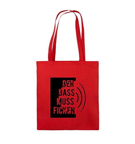 Comedy Bags - DER BASS MUSS FICKEN - Jutebeutel - lange Henkel - 38x42cm - Farbe: Schwarz / Pink Rot / Schwarz