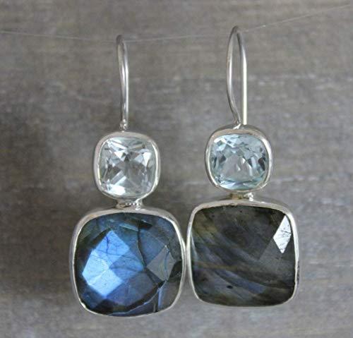 Blauer Topas und Labradorit Sterling Silber Ohrringe