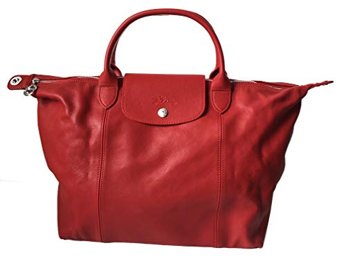Longchamp Original Le Pliage Cuir Handtasche Kirsche