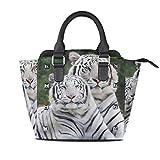 HANILUC Abnehmbare mode trend damen handtasche umhängetasche umhängetasche,3D Erwachsene scherzt netten zwei weißen schwarzen Streifen Tiger Green Background Theme Image